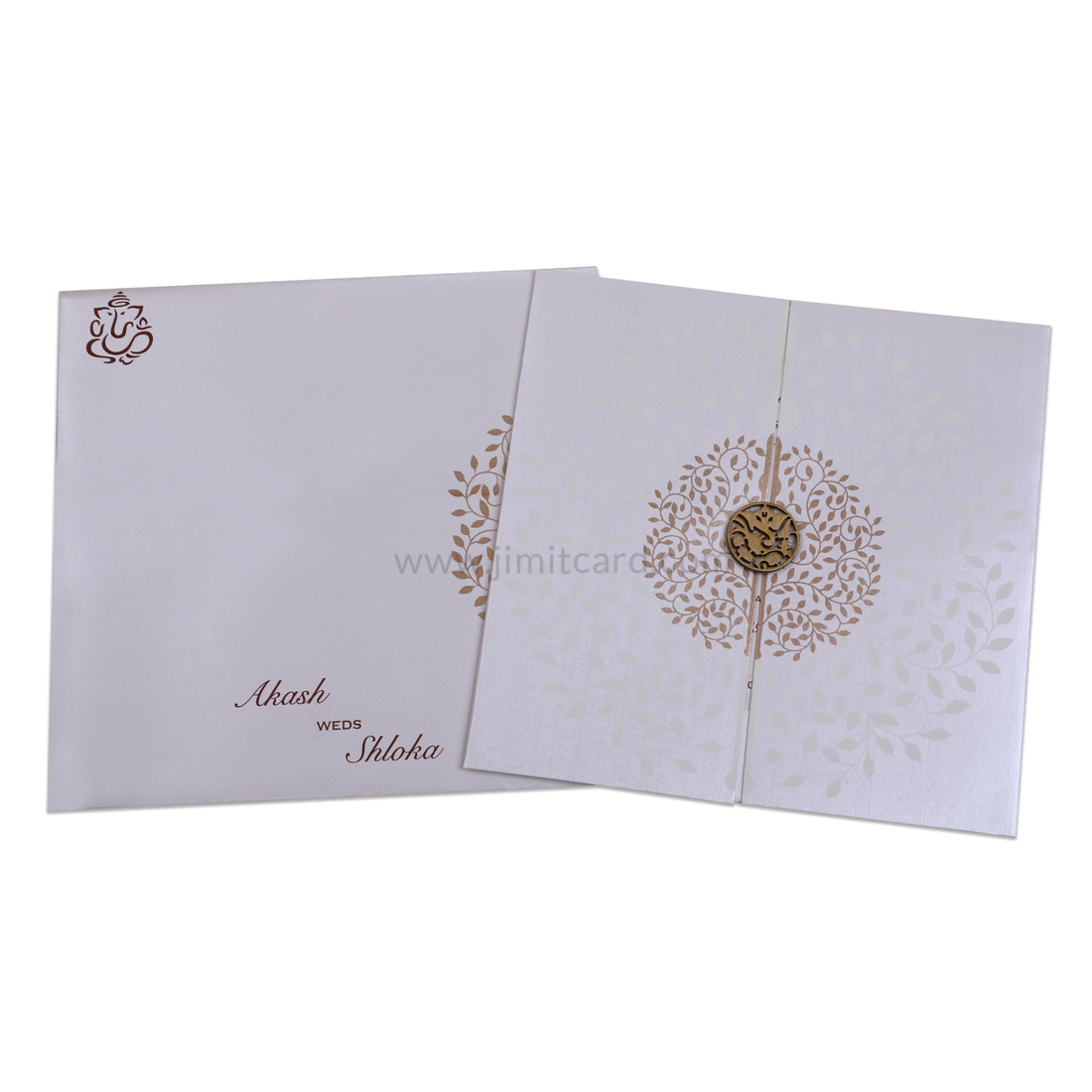 Silver Door Open Style Wedding Invitation Card With Embedded Design of Leaves in Circle-0