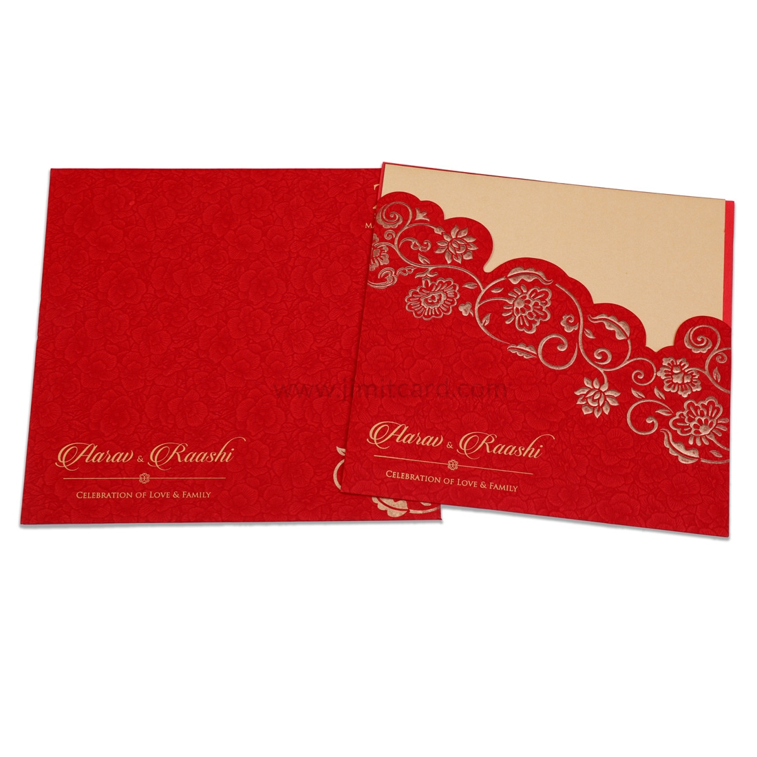 Red Color Laser Cut Wedding Invitation Card With Golden Flowers -0